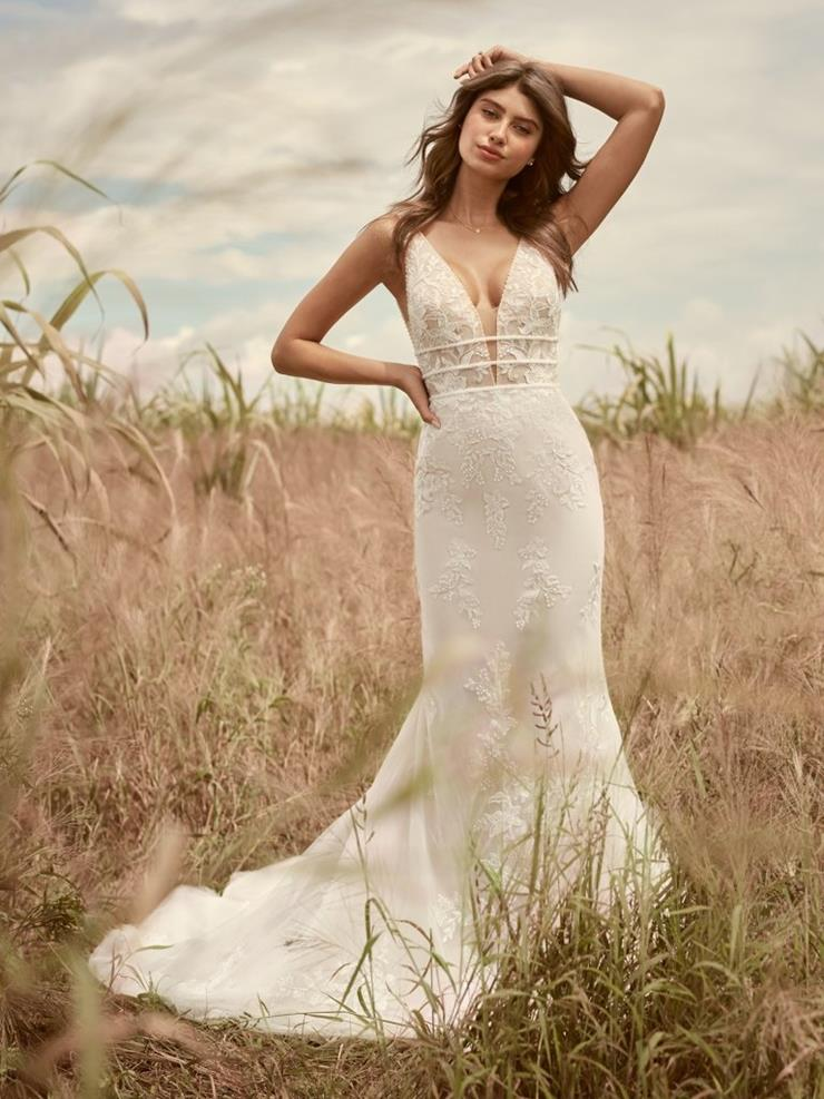 Model wearing a bridal Rebecca Ingram gown